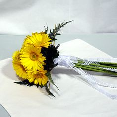 Yellow gerbera bridesmaid bouquet