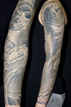 Black And Grey Koi Sleeve Tattoo