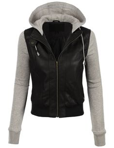 Feel like a rockstar in this faux leather moto bomber jacket with fleece hoodie paired. Pair it with dark denim pants for a casual trendy look or dress it up with a fitted minidress and heels. Feature