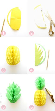 DIY Pineapple Honeycomb Party Decorations DIY Projects and Crafts DIY Ananas Waben Tutorial Hawaiian Party Decorations, Diy Party Decorations, Paper Decorations, Pineapple Decorations, Pineapple Party Decor, Pineapple Craft, Pineapple Cup, Diy Paper, Paper Crafting