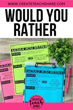 Would You Rather - Digital and Printable Activities - Distance Learning Classroom Language, Classroom Fun, Google Classroom, Future Classroom, Library Activities, Classroom Activities, Writing Station, Writing Centers, Writing Workshop