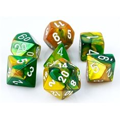 RPG Dice Set (Gemini Green and Gold) role playing game dice