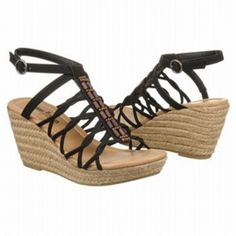 SALE - Minnetonka Moccasin Hilary Wedge Heels Womens Black Leather - Was $60.00 - SAVE $3.00. BUY Now - ONLY $57.00.