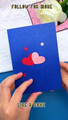 Diy Popup Cards, Diy Cards, Pop Up Valentine Cards, Pop Up Cards, Cool Paper Crafts, Diy Crafts For Gifts, Heart Pop Up Card, Handmade Christmas Greeting Cards, Photo Craft