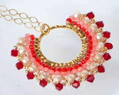 long red pendant beaded Necklace siam pink Bloom by lizaluksenberg, $54.00