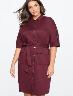 Button Detail Shirt Dress
