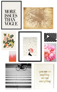 So many people love the look of gallery walls but struggle when actually putting them together. With all of the artwork available today online, there is no excuse to have anything less than a fabulous collection. I have put together a little assortment below but I have confidence that you can pick your own with these 5 tips: 1. Stick with one color theme, mine below is black and white with pops of pink and orange 2. Mix typography with graphics, with photography to mimic the look of a ...