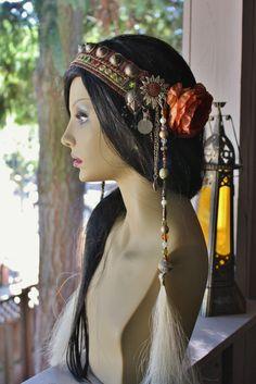 Tribal Fusion Headdress- Mehndhi- Green Shisha Trim, Silk Brocade, Earth Tones. $65.00, via Etsy. Secures behind ears with alligator clips