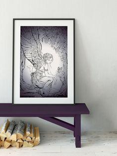 Vintage Fairy Butterfly Print -Purple Butterfly Poster - Vintage Purple Print with Fairy #PurpleFairyPrint #FairyPoster #FairyPrint #PurpleFairyPoster #FairyDrawing #VintageFaries #PurpleFairyArt #PurpleFairy #VintageFairy #PurpleFairies