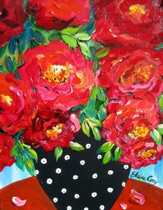 Original Painting 16 x 20 Red Rose Still Life by Elaine Cory Acrylic Flowers, Abstract Flowers, Folk Art Flowers, Flower Art, Rose Art, Colorful Paintings, Arte Floral, Large Painting, Whimsical Art