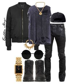 """""""The Release."""" by monroestyles ❤ liked on Polyvore featuring мода, Balmain, Timberland, Topshop, Versace, American Apparel, Stussy и MensFashion"""