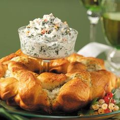 Spinach dip with amazing dill cheese bread!