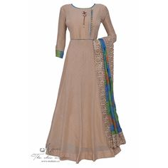 Elegant beige ensemble embellished with brooch and tie and dye pearl work dupatta-Mohan's the chic window