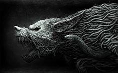 Creepy Illustrations by Anton Semenov, Fantasy creatures Anton, Wolf Wallpaper, Black Wallpaper, Mobile Wallpaper, 1920x1200 Wallpaper, Animal Wallpaper, Computer Wallpaper, Pc Computer, Wallpaper Ideas