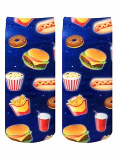 Fast Food Galaxy Ankle Socks from NYLONshop. Shop more products from NYLONshop on Wanelo. Rock Socks, Buy Socks, Silly Socks, Crazy Socks, Food Galaxy, Tennis Socks, Rainbow Food, Rainbow Stuff, Unique Socks