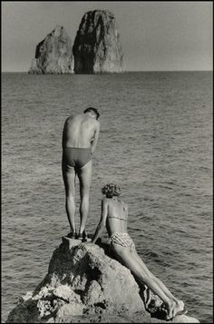 CAPRI, Italy—1955.  © Herbert List | Magnum Photos | vintage | swimmers | lovers | ocean | summer fun | bathers | 1950's
