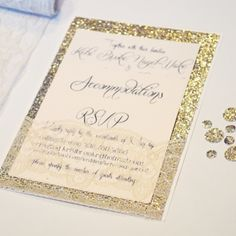 Glitter Invitations and save the dates Wedding ideas Pinterest