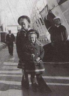 Grand Duchess Olga and Anastasia Nikolaievna aboard the Imperial yacht