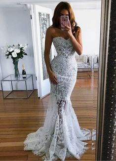 Would like if the bottom portion wasn't see through - I like the sweetheart neckline and mermaid style