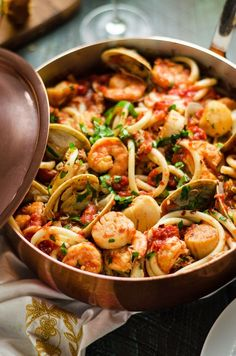 Seafood Fra Diavolo This pasta dish is impressive for a date night or Valentines Day dinner but easy enough to make at home Loaded up with shrimp scallops clams and crab. Fish Recipes, Seafood Recipes, Dinner Recipes, Cooking Recipes, Healthy Recipes, Seafood Meals, Seafood Shop, Calamari Recipes, Clam Recipes