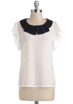 Twofold Taste Top - White, Black, Pleats, Short Sleeves, Mid-length, Work. Black & White contrast works best on Winter types!