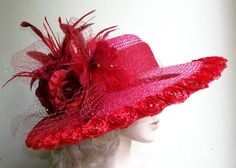 Wide Brim Red Hat Red Roses Kentucky Derby Hat by GlitzOfFlorida,