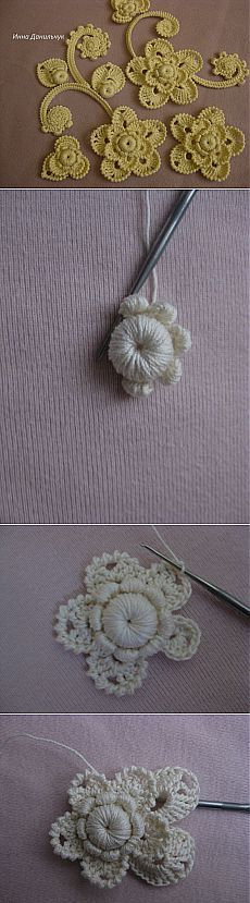 Mark flor do autor Inna Danilchuk. Freeform Crochet, Thread Crochet, Lace Knitting, Crochet Motif, Crochet Flowers, Crochet Stitches, Free Crochet, Irish Crochet Tutorial, Irish Crochet Patterns