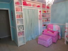 """love the """"built in"""" shelves around the closet with a cute curtain instead of ugly folding doors!"""
