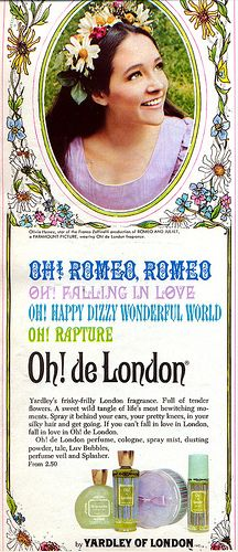 Oh! de London commercials. This print ad features Olivia Hussey.