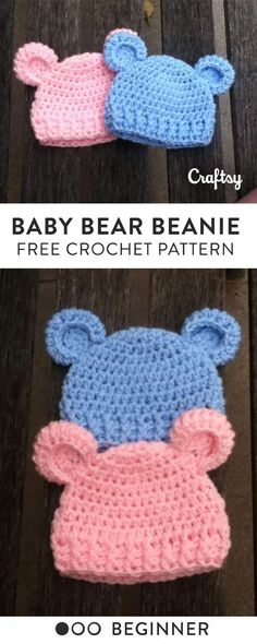 This adorable, newborn baby bear beanie is incredibly easy pattern, only simple crochet skills are required.