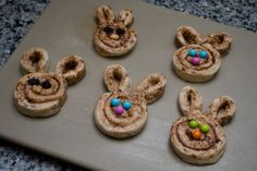 Cinnamon bunnies!   Also could use just seamless crescent rolls and cut strips then shape on cookie sheet.