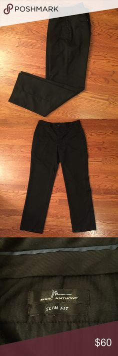 Men's Marc Anthony Slim Fit Dress Slacks This is a pair of size 34x32 Marc Anthony Slim Fit Dress Slacks. These are 70% polyester and 30% viscose. Marc Anthony Pants Dress
