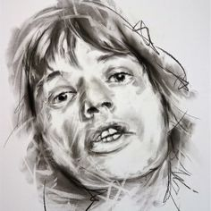 Mick Jagger Charcoal by Hom Nguyen