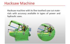 hacksaw machine cut large size metals such as steel