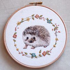 :: Crafty :: Stitch :: embroidery hedgehog by emillieferris