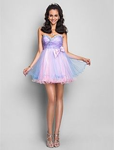 A-line/Princess Sweetheart Short/Mini Crystal Detailed Tulle... – USD $ 149.99