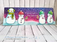 Making Frosty Friends или Мастер -класс по однослойной открытке с дистрессами. Lawn fawn