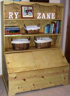toy box with bookcase-- doesn't have to necessarily store toys...