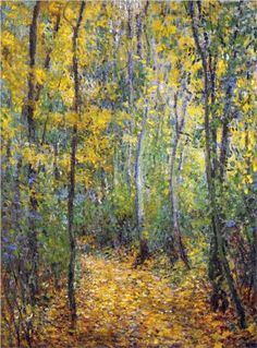 "Claude Monet peint ""Wood Lane"" dans 1876 avec petite taches de couleur et dans automne.  Monet aimé peinture les mêmes scènes sous des lumières différents.   Claude Monet painted wood lane in 1876 with tiny spots of colour and in Autumn. Monet liked painting the same scenes but in different lights."