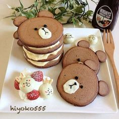 tortitas-de-ositos-para-ninos Bento Recipes, Baby Food Recipes, Food Art Pancakes, Pancake Art, Sad Faces, Brown Bear, Bear Food, Birthday Breakfast, Photo Art