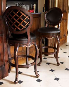Zoom +          		     	         Crosshatch Stools           Great curves, copper detailing, a swivel seat, and crosshatching on the back add up to one fabulous stool, and we offer it in two heights for even more versatility. Made of alder wood with a highlighted cherry finish and leather seating