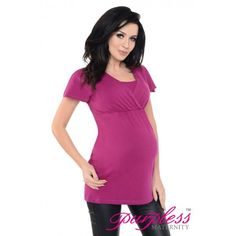 2in1 Maternity and Nursing Short Sleeved Top 7742 Dark Pink -  Maintain your pre-bump style throughout your pregnancy with our comfortable and affordable 2 in 1 maternity and nursing top tunic. This short sleeved top tunic with inner fabric in the neckline has been designed by Purpless to give you comfort and style during your pregnancy and whilst breastfeeding.