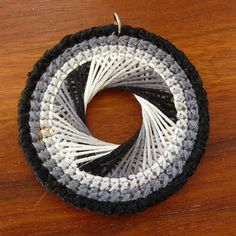 Spirograph Necklace Tutorial « Stealth & Aces Definitely for grade 6 and upSpirograph Necklace Tutorial Tutorial on how to make the Swirl Spirograph PlasticSo, here's the tutorial on how to make the Swirl Spirograph Plastic Canvas Necklace, such a Plastic Canvas Coasters, Plastic Canvas Crafts, Plastic Canvas Patterns, Dorset Buttons, Spirograph, Necklace Tutorial, Necklace Ideas, Moon Necklace, Necklace Holder