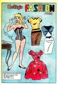 Betty and Veronica #74, February 1962* 1500 free paper dolls at artist Arielle Gabriel's The International Paper Doll Society also free Asian paper dolls The China Adventures of Arielle Gabriel *