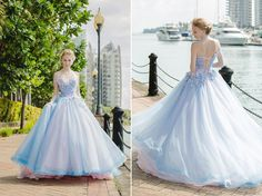 The perfect mix of baby blue x pink, this princess-worthy ball gown from White…