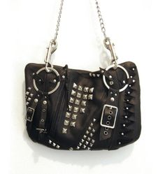 Leather Studded Black Punk Rock Purse by RogueCityKillers on Etsy, $144.00
