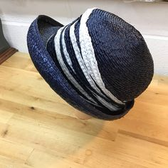 99a4781ddd5 Summer women s hat   blue and white cloche hat   vintage fashion