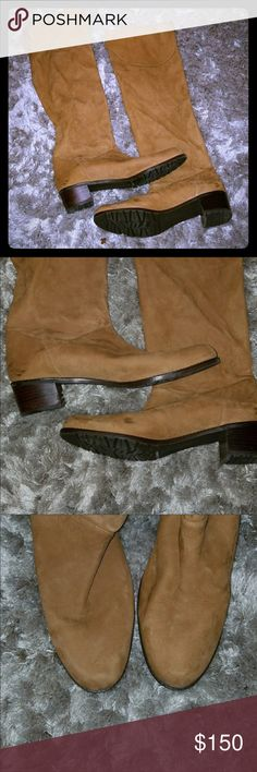 Stuart Weitzman Boots Beautiful camel color over the knees boots, only has one scuff, can be easily cleaned. Stuart Weitzman Shoes Over the Knee Boots