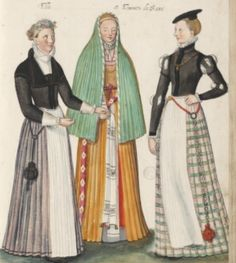 """I love the striped skirt, and different colored skirt-top combination.  """"fille et femmes de saxe"""" Girl and Women of Saxony.  D'Heere, Lucas. 1575, page 37 http://adore.ugent.be/OpenURL/app?id=archive.ugent.be:1EEACAD8-B1E8-11DF-966C-0D0679F64438&type=carousel"""