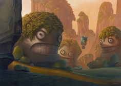 Valley of Grins - Shane Devries Animation Background, Art Background, Art And Illustration, Fantasy Landscape, Fantasy Art, Funny Monsters, Digital Backgrounds, Matte Painting, Creature Feature